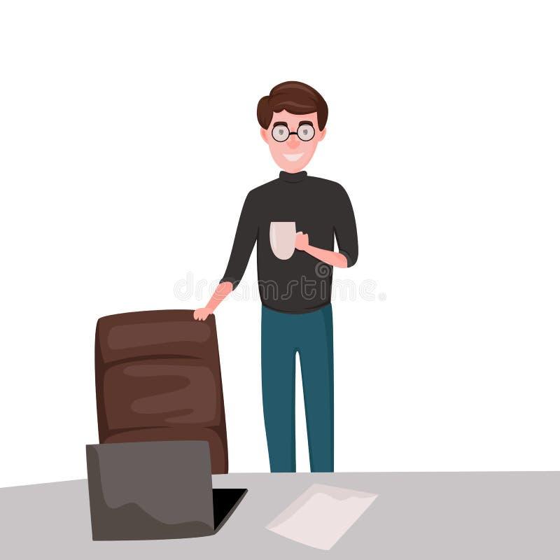 Biznesowy mężczyzna z krzesłem ilustracja wektor