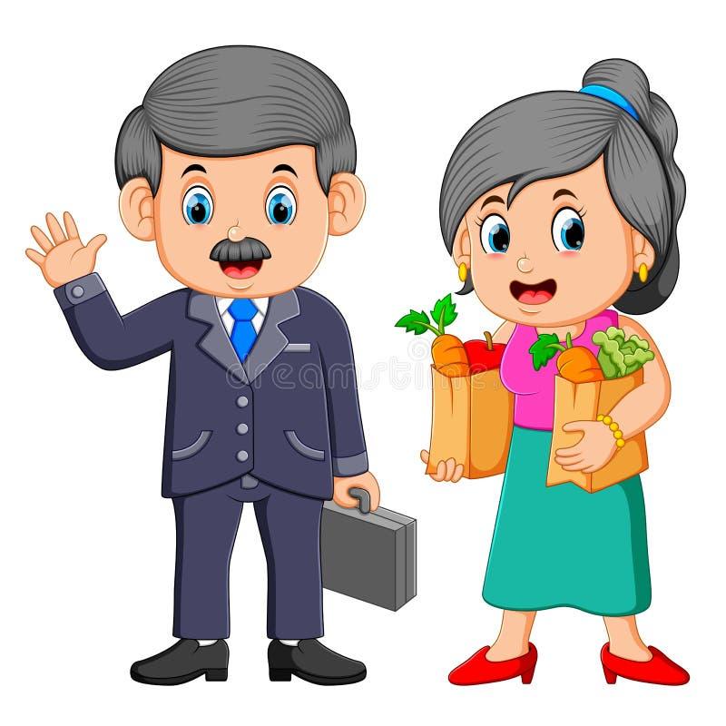 Biznesowy mężczyzna z młodej kobiety mienia sklepu spożywczego torbą na zakupy z warzywami ilustracji