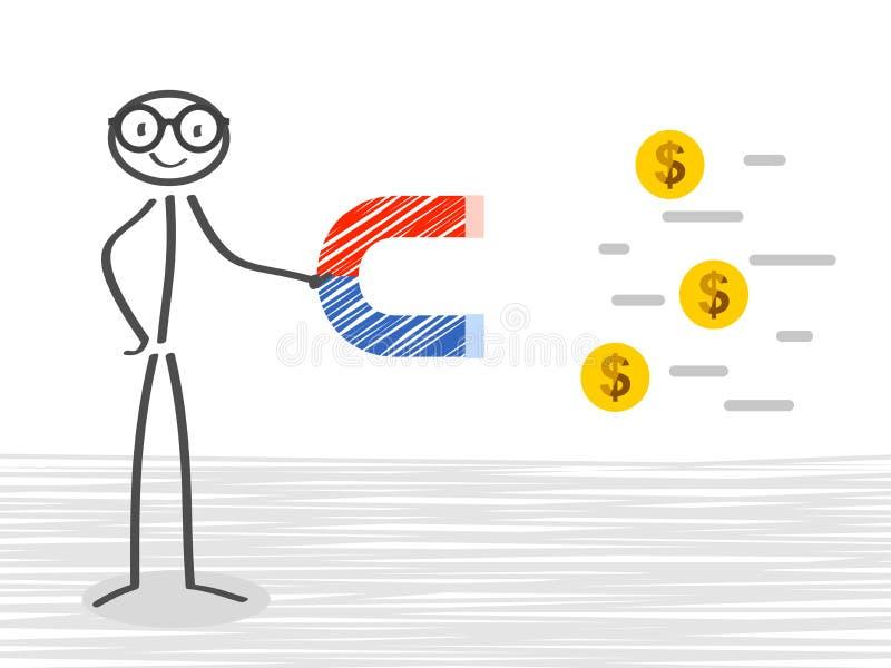 Biznesowy mężczyzna z ogromnym magnesem przyciąga pieniądze - wektor ilustracja wektor