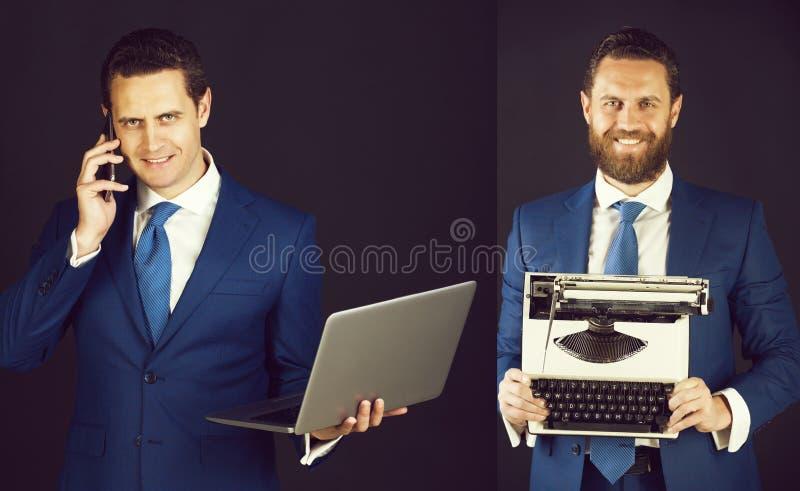 Biznesowy m??czyzna z telefonem, laptopem i maszyna do pisania, fotografia stock