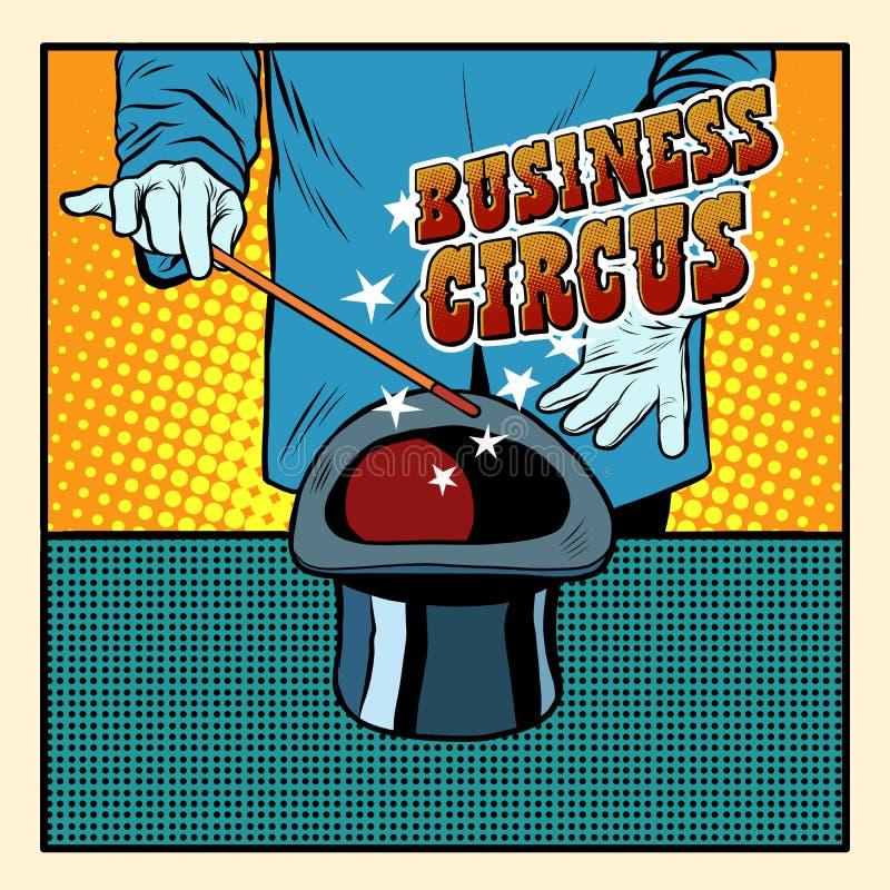 Biznesowy magiczny kapeluszowy cyrkowy iluzjonista ilustracja wektor