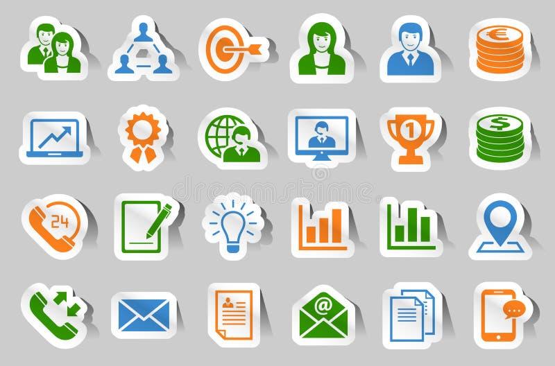 Biznesowy majcher ikony set ilustracja wektor