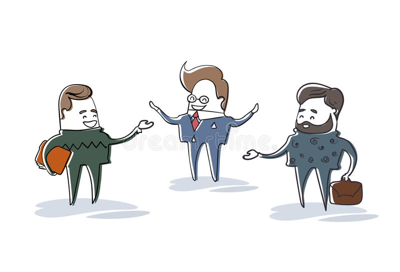 Biznesowy Man Group mówienie, biznesmena spotkania dyskusi postać z kreskówki Folująca długość royalty ilustracja