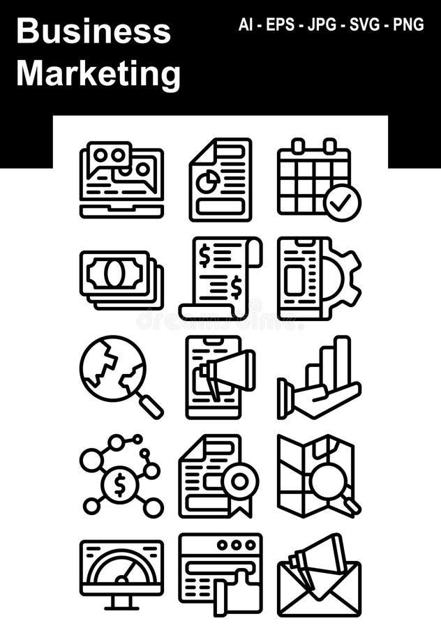 Biznesowy Marketingowy ikona set royalty ilustracja
