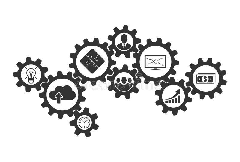 Biznesowy mechanizmu pojęcie współpraca i komunikacje royalty ilustracja