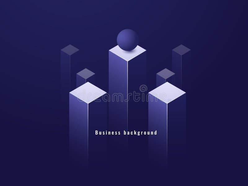 Biznesowy minimalizmu pojęcie, dane przepływ, futurystyczna ilustracja, kolumna isometric ciemny wektor ilustracji