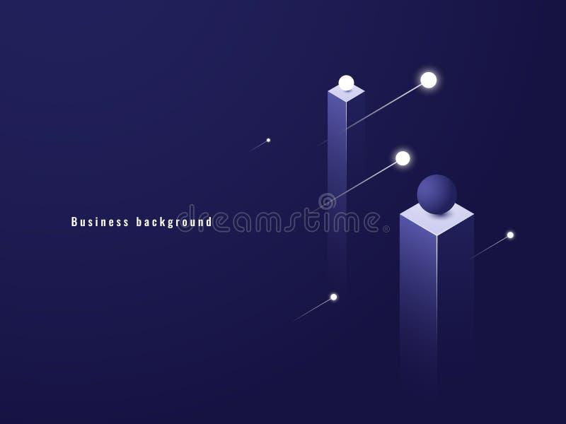 Biznesowy minimalizmu pojęcie, dane przepływ, futurystyczna ilustracja, kolumny isometric ilustracja wektor
