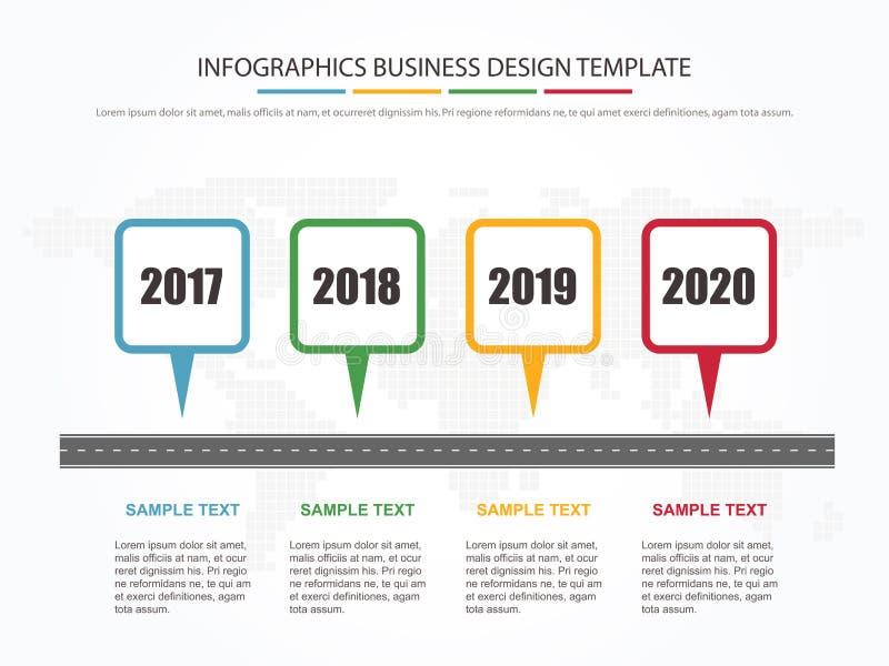 Biznesowy minimalny infographic szablon 4 kroków kamienia milowego biznesowego linia czasu infographic układ również zwrócić core royalty ilustracja