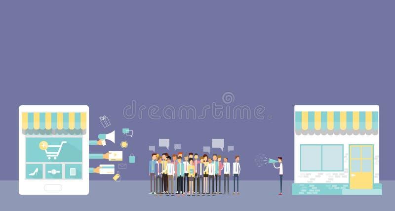 Biznesowy mobilny online zakupy pojęcie ilustracja wektor