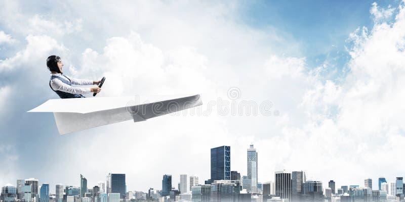 Biznesowy motywacji pojęcie z pilotowym samolotem zdjęcie stock