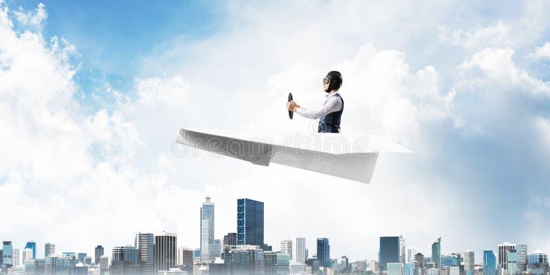 Biznesowy motywacji poj?cie z pilotowym samolotem obraz stock