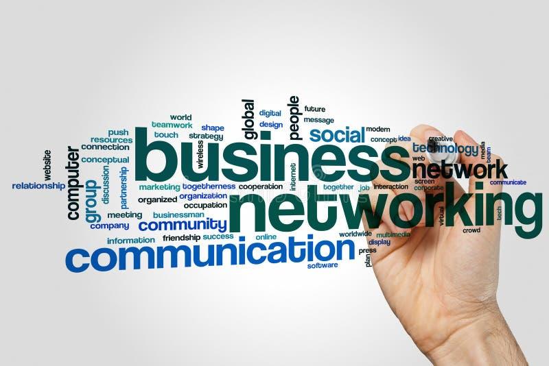 Biznesowy networking słowa chmury pojęcie na popielatym tle zdjęcie royalty free