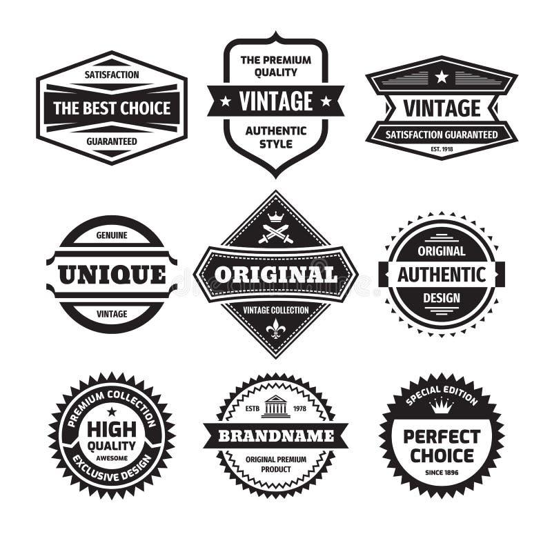 Biznesowy odznaki wektorowy ustawiający w retro projekta stylu logo abstrakcyjne ilo?? premii satysfakcja gwarantowana Oryginał,  ilustracji