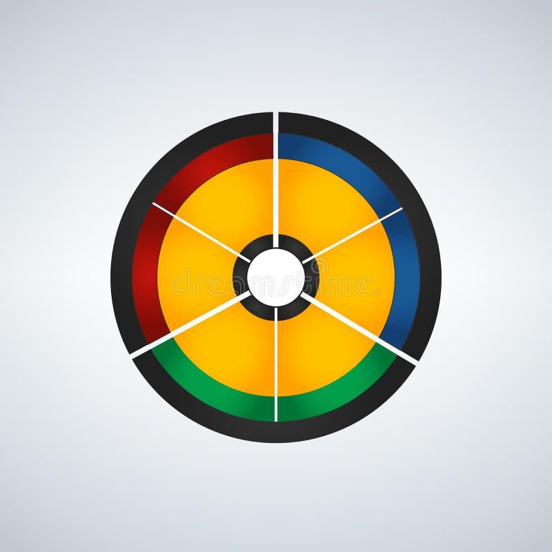 Biznesowy okrąg infographic, diagram, prezentaci sześć główni kroki, wektorowa ilustracja odizolowywająca zdjęcie royalty free