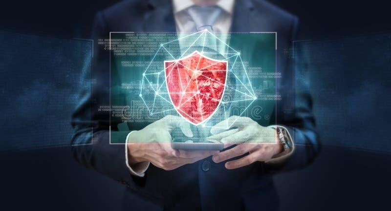 Biznesowy online bezpieczeństwo danych i AI sztuczna inteligencja technologia Element ten wizerunek mebluje NASA zdjęcia royalty free
