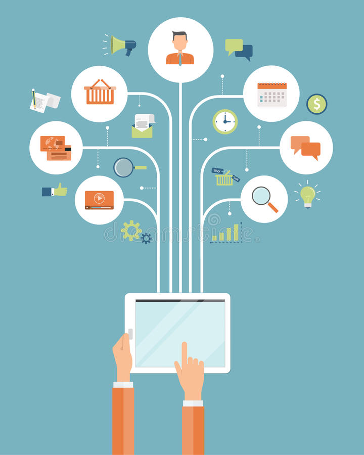 Biznesowy online zakupy mobilny online podłączeniowy pojęcie ilustracja wektor