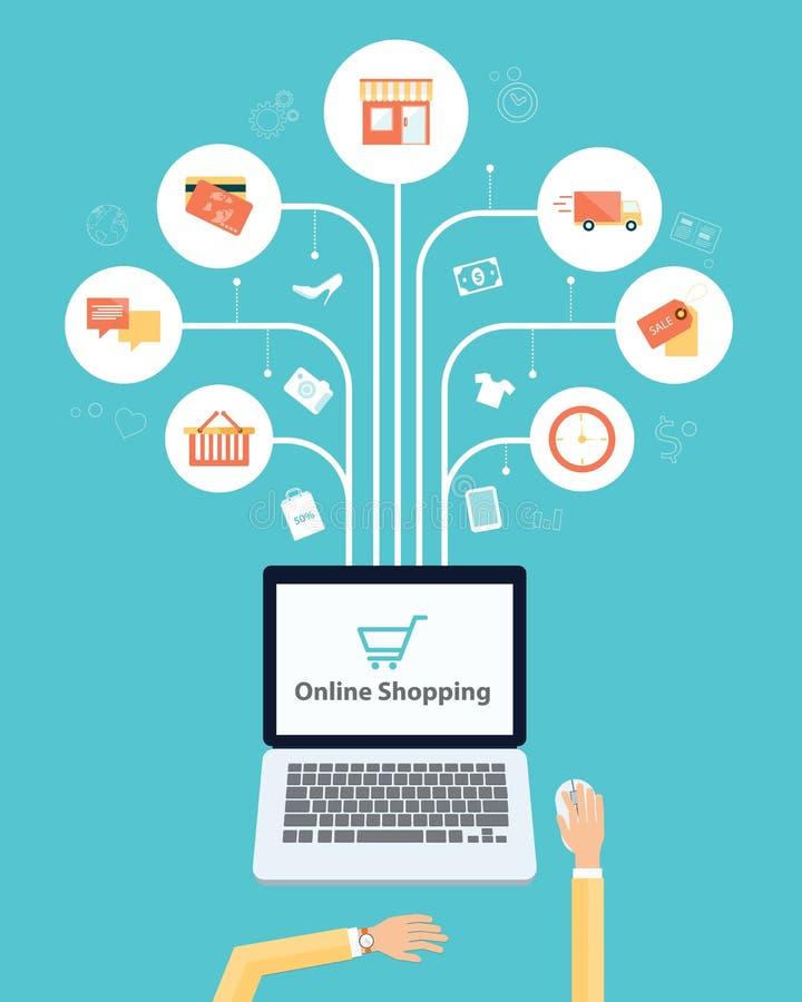 Biznesowy online zakupy ogólnospołeczny medialny sieć związek ilustracji
