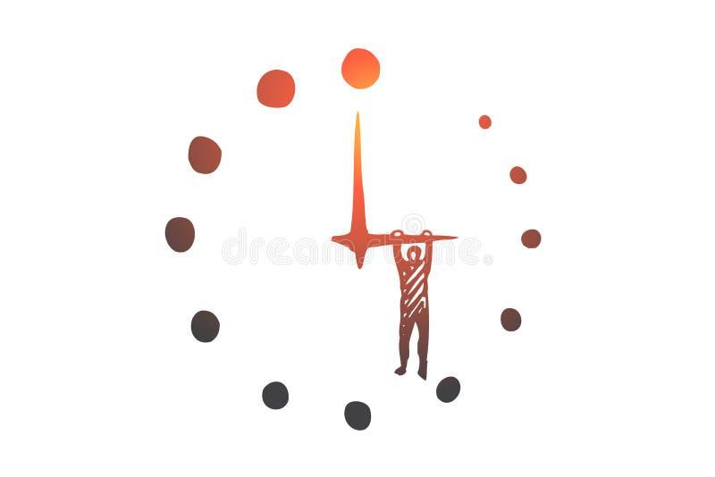 Biznesowy ostateczny termin, czas, zegarek, godzina, zegaru pojęcie Ręka rysujący odosobniony wektor ilustracji