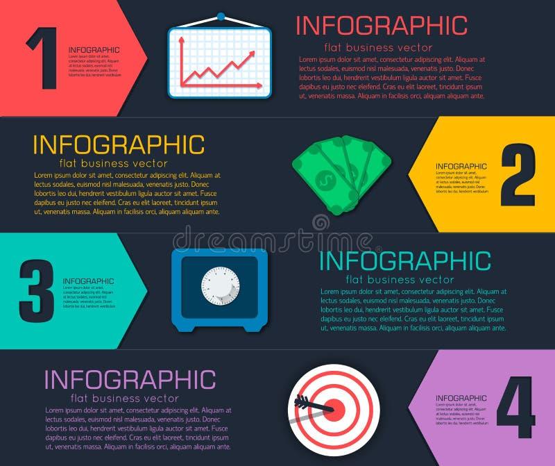 Biznesowy płaski infographic szablon z tekstem ilustracji