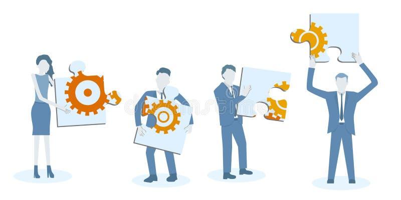 Biznesowy płaski projekt pracy zespołowej wektor z kolegami trzyma dużą wyrzynarki łamigłówkę z cogwheels ilustracji