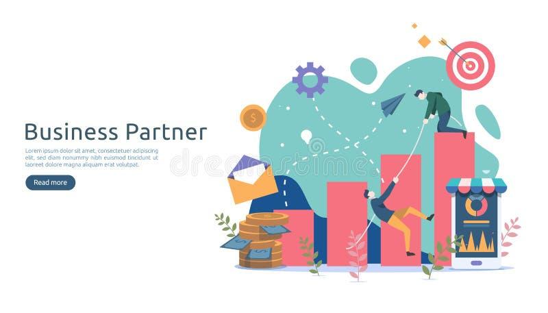 Biznesowy partnerstwa powiązania pojęcia pomysł z malutkimi ludźmi charakterów drużynowy działanie partnera wpólnie szablon dla s royalty ilustracja