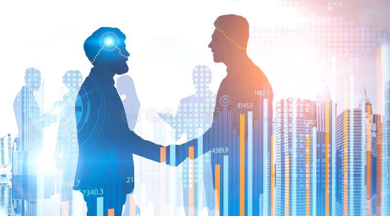 Biznesowy partnerstwo w mieście, wykresach i HUD, ilustracji