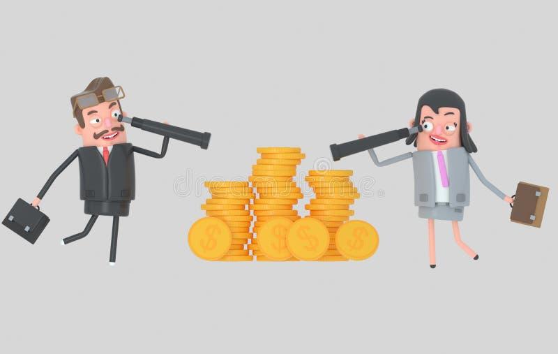 Biznesowy pary dopatrywanie naprzód w spyglasses ilustracja 3 d ilustracja wektor