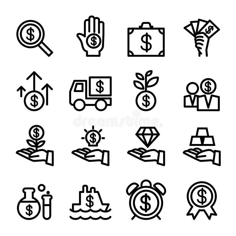 Biznesowy Pieniężnej inwestyci ikony set ilustracja wektor