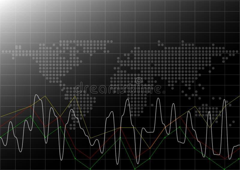 Biznesowy pieniężny i wykres tło ilustracji