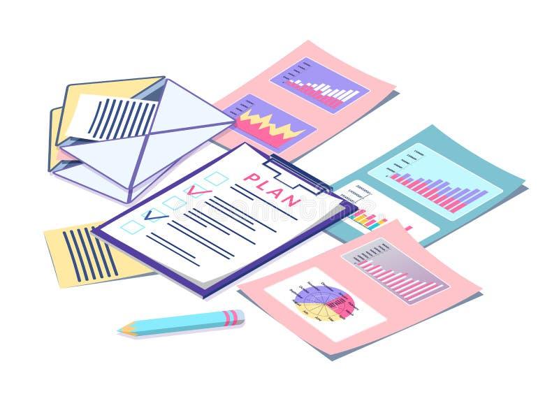 Biznesowy planowanie i Digital Marketingowe statystyki ilustracji