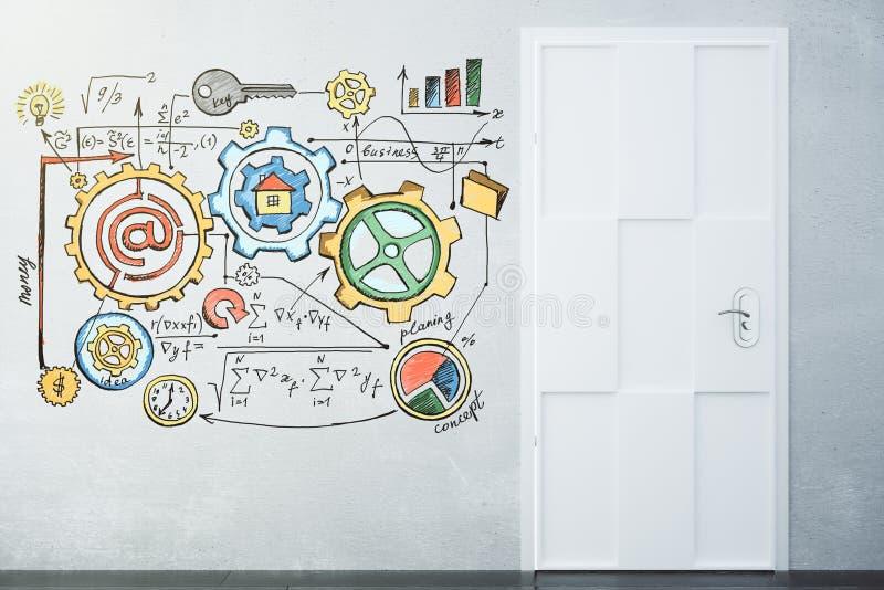 Download Biznesowy Planu Pojęcie Na Popielatej ścianie Z Białym Drzwi Zdjęcie Stock - Obraz złożonej z drzwi, diagram: 65225286