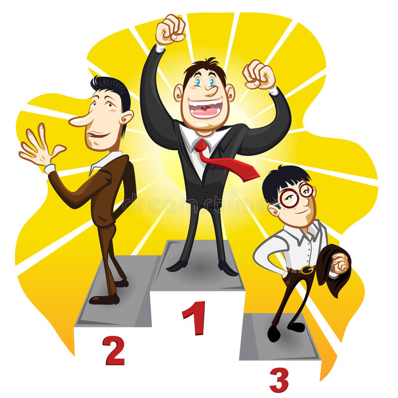 Biznesowy podium Z zwycięzcy biznesmena mistrzem ilustracja wektor