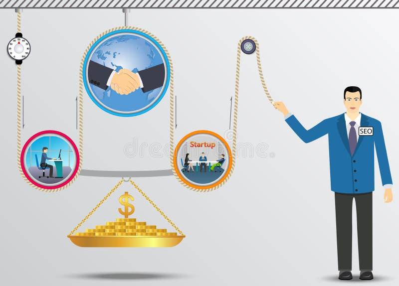 Biznesowy podnośny mechanizm pieniądze ilustracja wektor