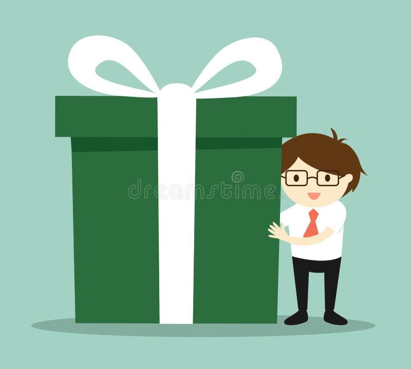 Biznesowy pojęcie, biznesmen trzyma dużego prezenta pudełko dla Bożenarodzeniowego festiwalu royalty ilustracja