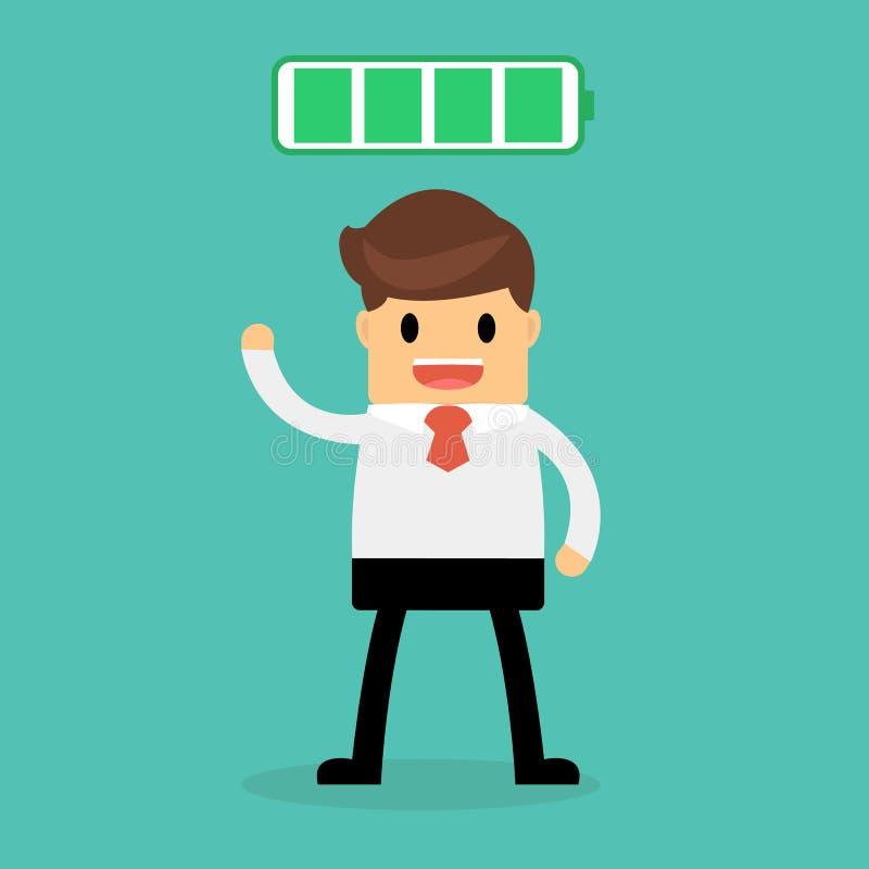 Biznesowy pojęcie, biznesmen z pełną energią ilustracja wektor