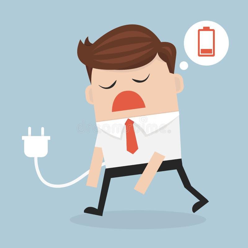 Biznesowy pojęcie, biznesmena uczucie bateria, męcząca i niska ilustracji