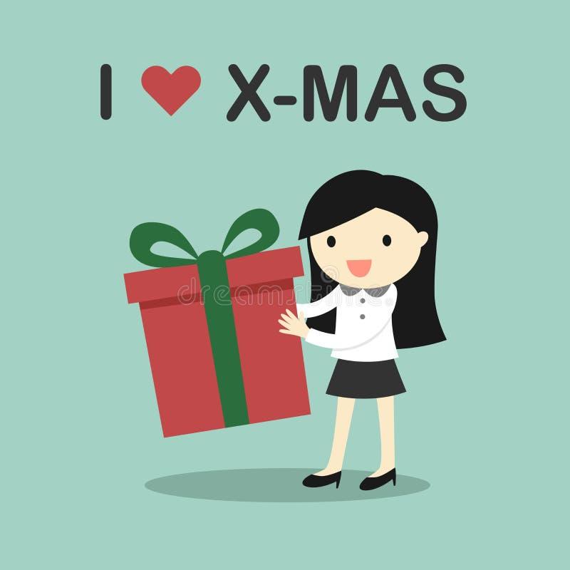 Biznesowy pojęcie, Biznesowa kobieta trzyma prezenta pudełko z słowami kocham Mas royalty ilustracja