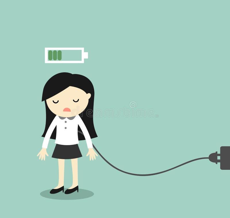 Biznesowy pojęcie, Biznesowej kobiety uczucia bateria, męcząca i ładuje również zwrócić corel ilustracji wektora ilustracja wektor