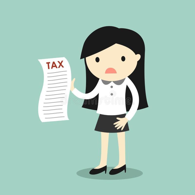 Biznesowy pojęcie, biznesowej kobiety uczucia zmartwienie o podatku ilustracja wektor