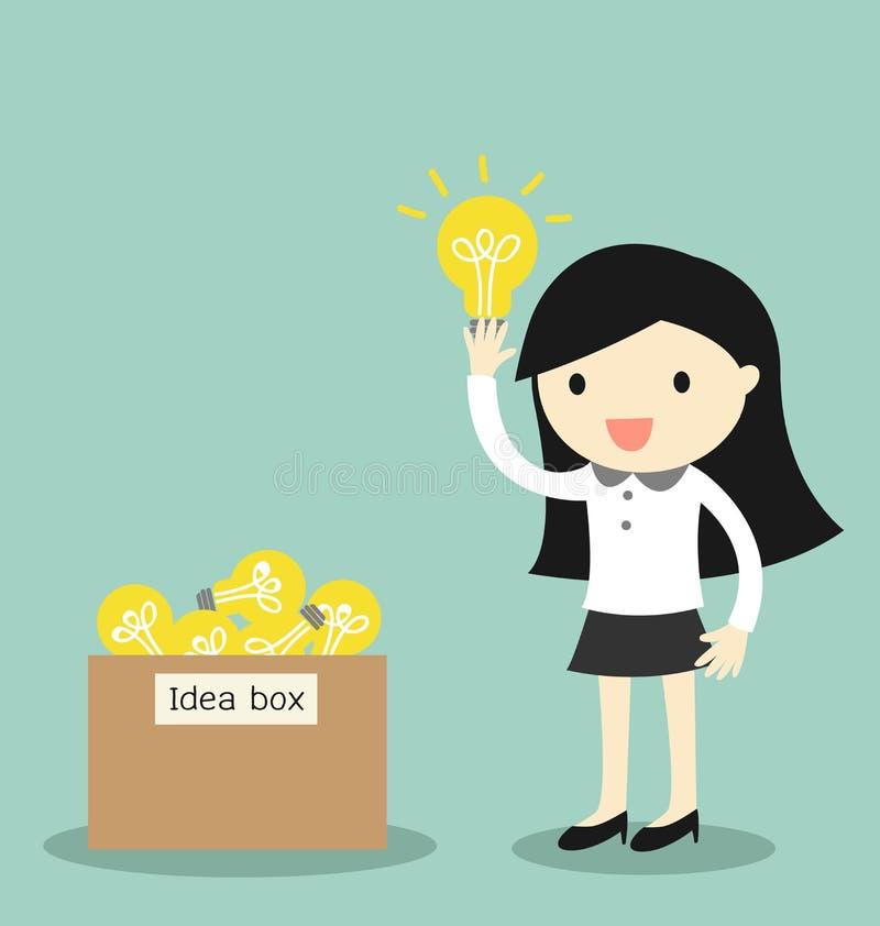 Biznesowy pojęcie, Biznesowej kobiety wybór niektóre pomysł od pomysłu pudełka również zwrócić corel ilustracji wektora ilustracji