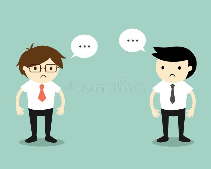 Biznesowy pojęcie, Dwa biznesmenów czuć niezręczny z each inny ilustracji