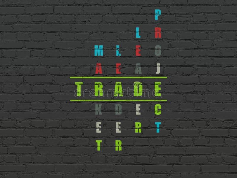 Biznesowy pojęcie: Handel w Crossword łamigłówce ilustracji