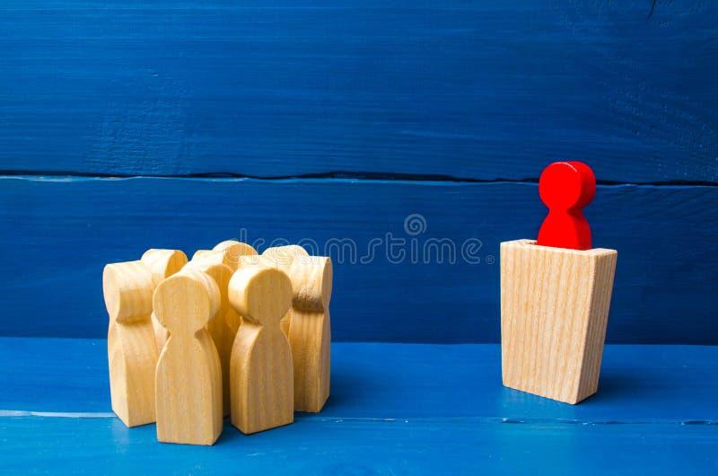 Biznesowy pojęcie ilości, tłumu zarządzanie, polityczna debata i wybory lidera i przywódctwo, Zarządzanie przedsiębiorstwem obrazy stock
