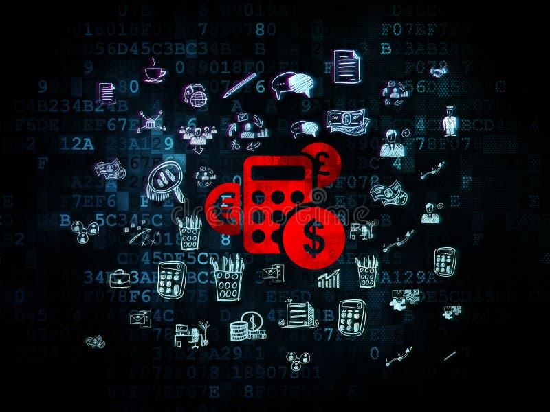 Biznesowy pojęcie: Kalkulator na Cyfrowego tle ilustracji