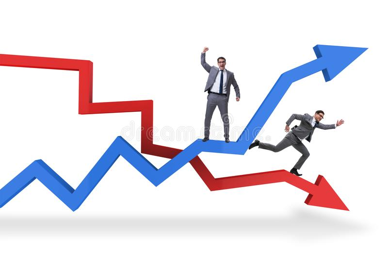 Biznesowy pojęcie kryzys i wyzdrowienie ilustracji