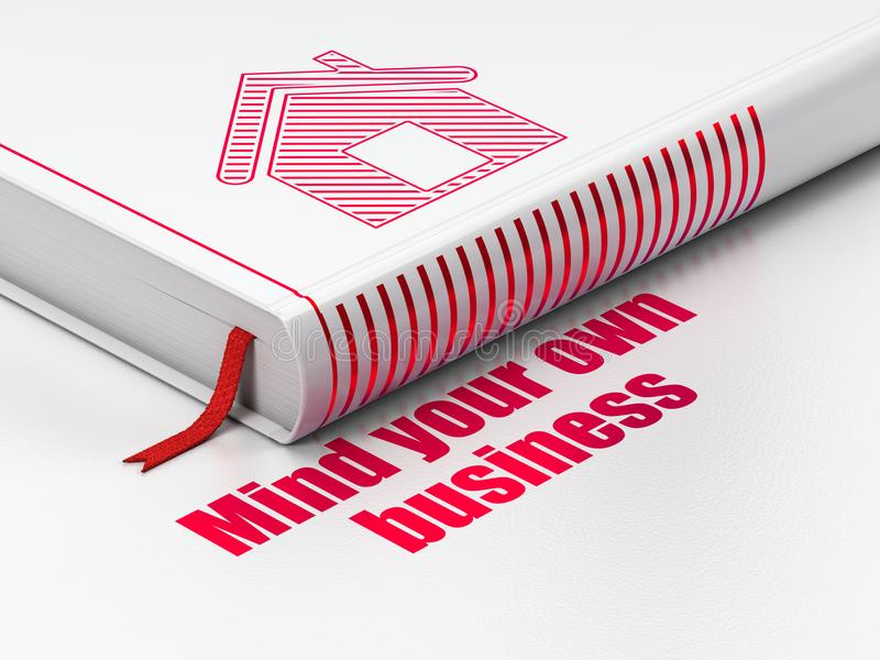 Biznesowy pojęcie: książka dom, Pamięta Twój swój biznes na białym tle ilustracji