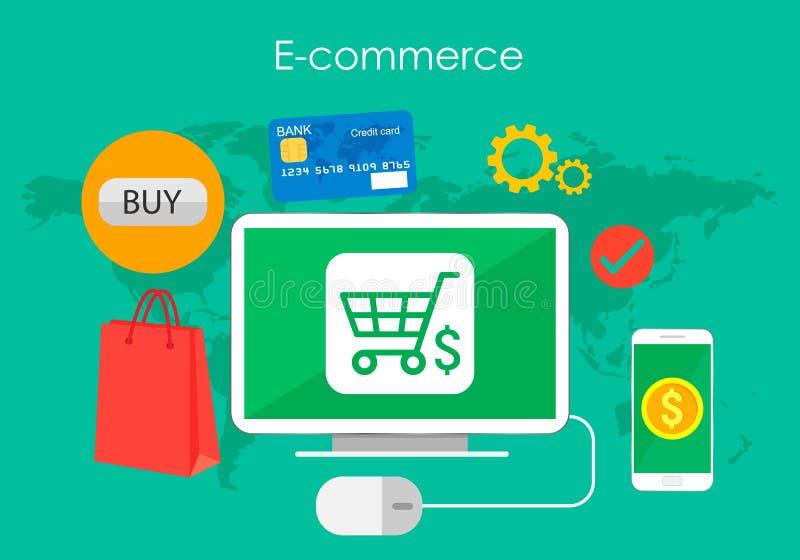Biznesowy pojęcie kupuje produkt przez online pomysłu symbolu i robi zakupy elementy, sklepu i handlu elektronicznego również zwr ilustracji