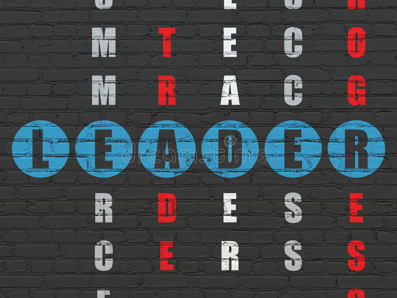 Biznesowy pojęcie: Lider w Crossword łamigłówce ilustracja wektor