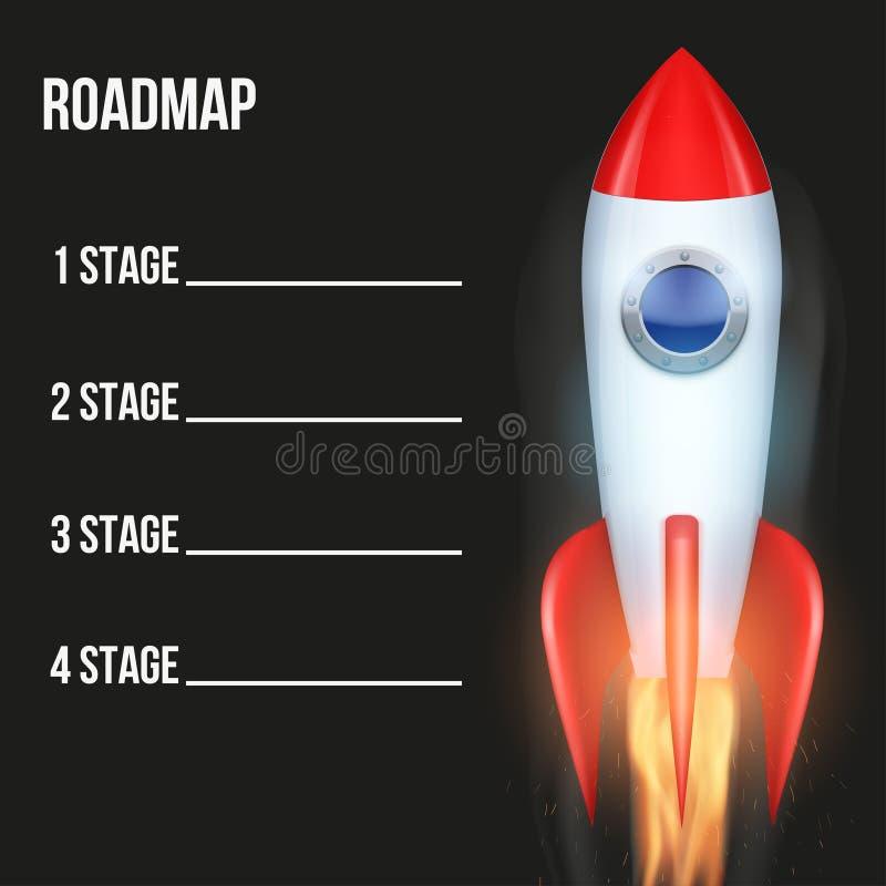 Biznesowy pojęcie linii czasu mapa samochodowa z rakietą royalty ilustracja