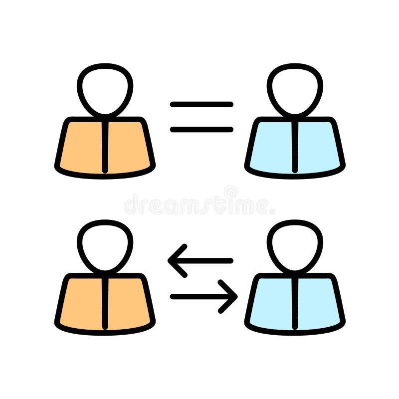 Biznesowy pojęcie, pięcioliniowy interchangeability Równe możliwości ilustracji